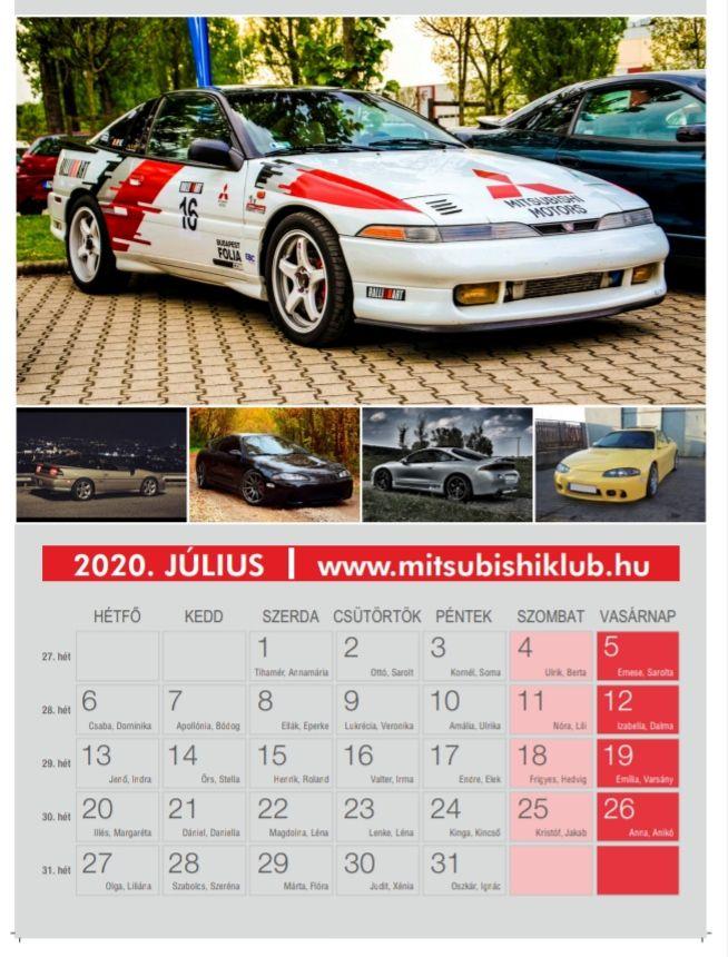 Mitsubishi naptár 2020